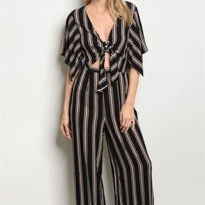 Gorgeous Black and Blush Pink Striped Jumpsuit